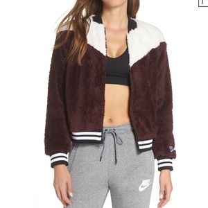 Nike Sherpa Bomber Jacket Color Block Size Small